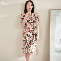 Dress Summer 2021 Light pink S M L XL XXL Mid length dress singleton  Short sleeve commute V-neck middle-waisted Decor other Pencil skirt routine Others 35-39 years old Type H Mi Siyang lady Lace up printing 1M21BL1226 More than 95% other other Other 100%