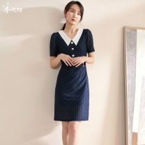 Dress Summer 2021 Dark blue / spot direct delivery S M L XL XXL Mid length dress singleton  Short sleeve commute Doll Collar middle-waisted Solid color zipper One pace skirt routine Others 35-39 years old Type H Mi Siyang lady Cut out stitching button lace 1X21BL1311 More than 95% Lace other