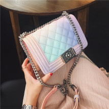 Bag The single shoulder bag PU Small square bag Other / other Rainbow gradients [ brand new European and American fashion Small leisure time hard Buckle no Gradients Single root One shoulder cross nothing youth Square box rainbow Chain handle synthetic leather synthetic leather Inner patch pocket