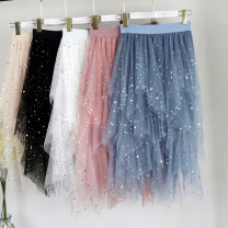 skirt Spring 2021 S,M,L,XL Black, blue, pink, apricot, white, net version black, net version apricot, net version gray, net version pink, gradient skirt white + blue star, gradient Skirt Pink + blue star, gradient skirt apricot + blue star Mid length dress Versatile High waist Irregular Solid color