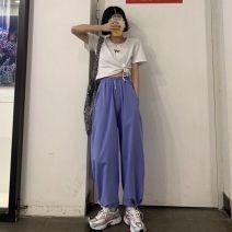 Casual pants White, black, gray, purple S,M,L,XL,2XL Ninth pants Haren pants High waist