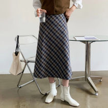 skirt Spring 2021 S,M,L Black, blue, red longuette commute High waist A-line skirt lattice Type A 25-29 years old 81% (inclusive) - 90% (inclusive) other other zipper Korean version