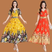 Dress Summer 2021 1, 2, 3, 4, 5, 6, 7, 8, 9, 10 L,XL,2XL,3XL,4XL longuette singleton  Short sleeve Sweet V-neck High waist Decor Big swing routine Others Type A More than 95% other other Bohemia