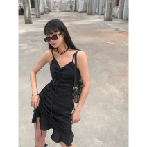 Dress Summer 2021 White, black S,M,L Short skirt singleton  Sleeveless street V-neck High waist Solid color Ruffle Skirt camisole 18-24 years old Type A Ruffles, ruffles, folds KK211Q60070 51% (inclusive) - 70% (inclusive) Silk and satin