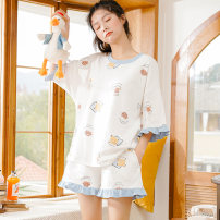 Pajamas / housewear set female Other / other Women's M (80-100kg), women's l (100-120kg), women's XL (120-140kg), women's XXL (140-160kg) cotton Short sleeve Sweet pajamas summer routine Crew neck other shorts Socket youth 2 pieces rubber string More than 95% pure cotton printing 200g
