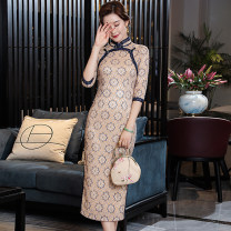 cheongsam Winter 2020 S,M,L,XL,XXL Yesterday Once More other long cheongsam Retro High slit daily Round lapel 25-35 years old Piping Yesterday Once More Other / other other 51% (inclusive) - 70% (inclusive)