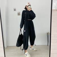 Women's large Summer 2020, spring 2020 black M (recommendation 80-100), l (recommendation 100-120), XL (recommendation 120-140), 2XL (recommendation 140-160), 3XL (recommendation 160-180), 4XL (recommendation 180-200) trousers commute easy moderate Solid color Korean version 18-24 years old pocket