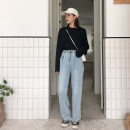 Women's large Summer of 2019, autumn of 2019 Denim blue M (recommendation 80-100), l (recommendation 100-120), XL (recommendation 120-140), 2XL (recommendation 140-160), 3XL (recommendation 160-180), 4XL (recommendation 180-200) Jeans singleton  commute Straight cylinder moderate Solid color 6601-2