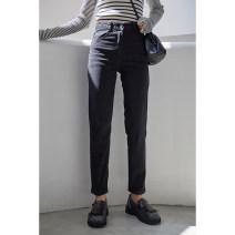 Women's large Winter of 2019, autumn of 2019 Black, black plush S (80-90), m (90-100), l (100-120), XL (120-140), 2XL (140-160), 3XL (160-180), 4XL (180-200) Jeans singleton  commute Straight cylinder thickening Korean version 18-24 years old Ninth pants