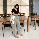 Women's large Summer of 2019, autumn of 2019 Black, greyish green M (recommendation 80-100), l (recommendation 100-120), XL (recommendation 120-140), 2XL (recommendation 140-160), 3XL (recommendation 160-180), 4XL (recommendation 180-200) trousers singleton  commute easy thin Solid color Ninth pants