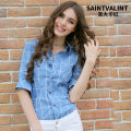 shirt XS S M L XL 2XL 3XL Spring 2016 polyester fiber 51% (inclusive) - 70% (inclusive) Long sleeves Versatile Medium length square neck Single row multi button shirt sleeve lattice 18-24 years old Self cultivation Saint valint C Polyester 55% cotton 45% Pure e-commerce (online only)