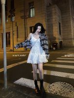 Dress Summer 2021 white S,M,L Short skirt singleton  Sleeveless commute V-neck High waist Solid color Socket A-line skirt camisole 18-24 years old Type A Greater than poetry Korean version fold AQ07218 More than 95% other other