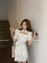 Dress Summer 2021 Black, white S, M Short skirt singleton  Short sleeve commute other High waist Solid color Single breasted A-line skirt puff sleeve Others 18-24 years old Type A Greater than poetry Korean version Pocket, pocket AQ07221 More than 95% polyester fiber