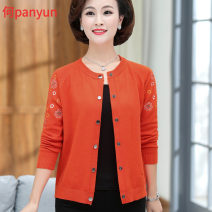 Middle aged and old women's wear Autumn of 2019 Orange, rose, green M,L,XL,XXL,XXXL,4XL fashion Knitwear / cardigan easy singleton  other 40-49 years old Cardigan moderate Crew neck routine routine other 31% (inclusive) - 50% (inclusive) Single breasted