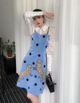 Fashion suit Spring 2021 XS,S,M,L Shirt [white], dress [laurel blue] 18-25 years old 81% (inclusive) - 90% (inclusive)