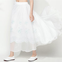 skirt Spring of 2019 Average size White, black longuette commute other Solid color Type H 91% (inclusive) - 95% (inclusive) nylon Embroidery ethnic style