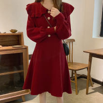 Dress Winter 2020 Red, black M [80-100 Jin], l [100-120 Jin], XL [120-140 Jin], 2XL [140-160 Jin], 3XL [160-180 Jin], 4XL [180-200 Jin] Mid length dress singleton  Long sleeves commute Doll Collar High waist Solid color Socket A-line skirt routine 18-24 years old Type A Korean version knitting other