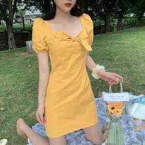 Women's large Spring 2021, summer 2021 Yellow, black M [80-100kg], l [100-120kg], XL [120-140], 2XL [140-160], 3XL [160-180], 4XL [180-200] Dress