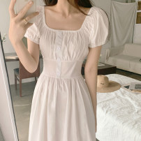 Dress Summer 2021 white S,M,L Mid length dress singleton  Short sleeve commute square neck High waist Solid color Socket A-line skirt puff sleeve Others 18-24 years old Type A Korean version 31% (inclusive) - 50% (inclusive) other other