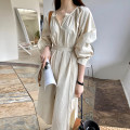 Dress Spring 2021 Apricot, white Average size Mid length dress singleton  Long sleeves commute V-neck High waist Solid color Single breasted raglan sleeve 18-24 years old Korean version Frenulum 31% (inclusive) - 50% (inclusive) other other