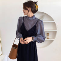 Dress Autumn 2020 Blue, white Average size Mid length dress Fake two pieces Long sleeves commute stand collar High waist other Socket other routine Others 18-24 years old Korean version 31% (inclusive) - 50% (inclusive) other other