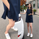 Dress Summer 2020 navy blue Average size Short skirt singleton  Sleeveless commute Crew neck Loose waist Solid color Socket other Others 18-24 years old Type H Korean version 31% (inclusive) - 50% (inclusive) other other