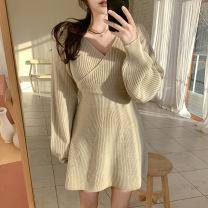 Dress Winter 2020 Milky white, skin pink Average size Short skirt singleton  Long sleeves commute V-neck High waist Solid color Socket A-line skirt routine Others 18-24 years old Korean version 31% (inclusive) - 50% (inclusive) other other