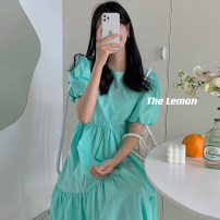 Dress Summer 2021 Green, yellow, blue, black, white, pink Average size longuette singleton  Short sleeve commute Crew neck Loose waist Solid color Socket other puff sleeve 18-24 years old Type A Korean version 31% (inclusive) - 50% (inclusive) other other