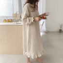 Pajamas / housewear set female Other / other Average size Apricot other Long sleeves Simplicity Leisure home autumn routine Front buckle youth one-piece garment 41% (inclusive) - 60% (inclusive) printing longuette