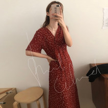 Dress Spring 2021 Black, red, blue Average size longuette singleton  Short sleeve commute V-neck High waist other Socket other routine Others 18-24 years old Korean version 31% (inclusive) - 50% (inclusive) other other