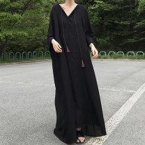 Dress Spring of 2019 black Average size longuette singleton  commute Loose waist Socket Others 18-24 years old Type H Korean version