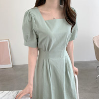 Dress Summer 2021 Mint green, ivory white Average size longuette singleton  Short sleeve commute square neck High waist Solid color zipper A-line skirt puff sleeve Others 18-24 years old Type A Korean version 31% (inclusive) - 50% (inclusive) other other