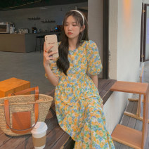 Dress Summer 2021 Yellow, purple Average size Mid length dress singleton  Short sleeve commute Crew neck Loose waist Broken flowers Socket other puff sleeve Others 18-24 years old Type A Korean version 31% (inclusive) - 50% (inclusive) other other