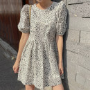 Dress Summer 2021 white Average size Short skirt singleton  Short sleeve commute Crew neck High waist Leopard Print Socket other puff sleeve Others 18-24 years old Type A Korean version 31% (inclusive) - 50% (inclusive) other other