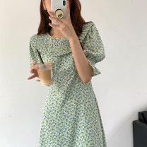 Dress Summer 2021 Green, purple Average size longuette singleton  Short sleeve commute Doll Collar High waist Broken flowers Socket other puff sleeve Others 18-24 years old Korean version 31% (inclusive) - 50% (inclusive) other other