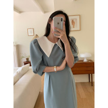 Dress 31% (inclusive) - 50% (inclusive) other other Summer 2021 longuette singleton  Short sleeve commute Doll Collar Solid color Condom puff sleeve 18-24 years old High waist other Other Korean version One size fits all