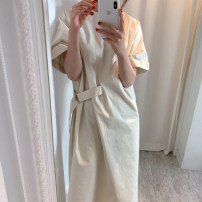 Dress Summer 2020 Average size Mid length dress singleton  Short sleeve commute Crew neck Loose waist Solid color Socket other routine Others 18-24 years old Type H Korean version 31% (inclusive) - 50% (inclusive) other other