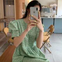 Dress Summer 2021 Green, pink Average size longuette singleton  Short sleeve commute Crew neck Loose waist Broken flowers Socket other puff sleeve Others 18-24 years old Type A Korean version 31% (inclusive) - 50% (inclusive) other other