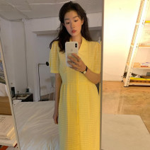 Dress Summer 2021 yellow Average size longuette singleton  Short sleeve commute other High waist Solid color Single breasted other puff sleeve Others 18-24 years old Korean version 31% (inclusive) - 50% (inclusive) other other