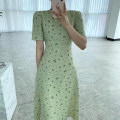 Dress Summer 2021 Green, black Average size Mid length dress singleton  Short sleeve commute Crew neck High waist Broken flowers Socket A-line skirt puff sleeve Others 18-24 years old Type A Korean version 31% (inclusive) - 50% (inclusive) other other