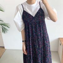 Fashion suit Summer 2021 Average size Black T-shirt , White T-shirt , Dark blue suspender skirt , Yellow suspender skirt 18-25 years old 31% (inclusive) - 50% (inclusive)