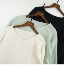 T-shirt M, L Autumn of 2019 Long sleeves V-neck easy Medium length routine cotton 96% and above Solid color Qingguyu
