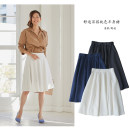 skirt Autumn of 2019 S,M,L,XL Dark blue, white, black Mid length dress grace Natural waist A-line skirt Solid color Type A 91% (inclusive) - 95% (inclusive) Qingguyu polyester fiber Button, zipper, open line decoration