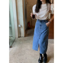 skirt Spring 2021 XS,S,M Retro Blue Mid length dress commute High waist Denim skirt Solid color Type A 18-24 years old Korean version