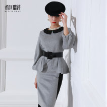 Dress Winter of 2018 grey S M L XL Short skirt singleton  Long sleeves commute Crew neck middle-waisted Solid color zipper One pace skirt bishop sleeve Others 30-34 years old Type H Heathcliff Retro Ruffle stitching F0793 51% (inclusive) - 70% (inclusive) other polyester fiber