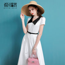 Dress Summer of 2019 White with black collar XS S M L XL Mid length dress singleton  Short sleeve commute Doll Collar middle-waisted Solid color zipper Pleated skirt puff sleeve Others 30-34 years old Type A Heathcliff Retro zipper F0936 More than 95% Poplin cotton Cotton 100%