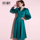 Dress Autumn of 2019 green XS S M L XL Mid length dress singleton  Long sleeves commute V-neck middle-waisted Solid color zipper Big swing bishop sleeve Others 30-34 years old Type A Heathcliff Retro zipper F0964 More than 95% other polyester fiber Pure e-commerce (online only)