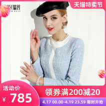 Dress Spring of 2019 Decor S M L XL Middle-skirt singleton  Long sleeves commute Crew neck middle-waisted Decor zipper other routine Others 30-34 years old Type X Heathcliff Retro zipper F0801 More than 95% other polyester fiber Polyester 100% Pure e-commerce (online only)