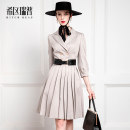 Dress Winter of 2019 silver gray XS S M L XL Middle-skirt singleton  Long sleeves tailored collar middle-waisted Solid color zipper A-line skirt puff sleeve 30-34 years old Type X Heathcliff Pocket button zipper F1028 71% (inclusive) - 80% (inclusive) other polyester fiber