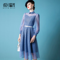 Dress Spring 2021 Light blue (in stock) light blue full liner without Perspective (pre sold after April 15) XS S M L XL Mid length dress singleton  Long sleeves commute Polo collar middle-waisted Dot zipper Big swing bishop sleeve Others 30-34 years old Type H Heathcliff lady Stitched zipper lace
